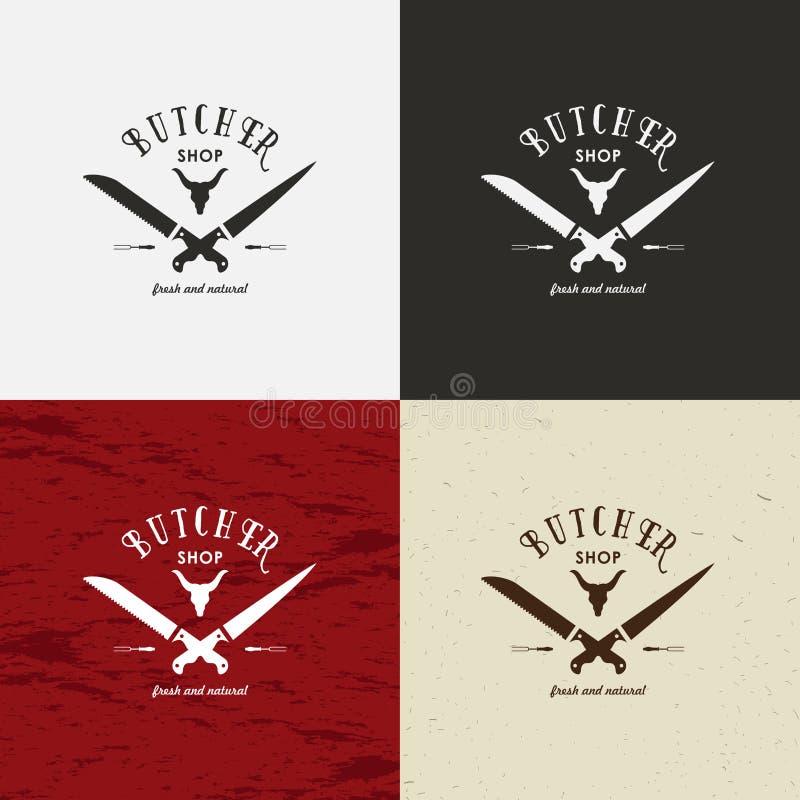 Slager Shop Design Element in Uitstekende Stijl voor Logotype, Etiket, Kenteken, T-shirts en ander ontwerp Koegezicht en messen r royalty-vrije illustratie