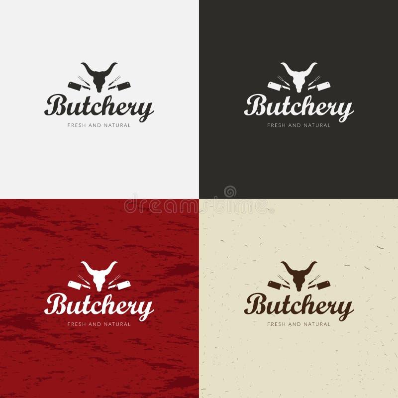 Slager Shop Logo, het Malplaatje van het Vleesetiket met de Silhouetten en de Messen van Landbouwbedrijfdieren royalty-vrije illustratie