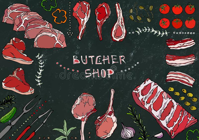 Slager Shop Vleesbesnoeiingen - Rundvlees, Varkensvlees, Lam, Lapje vlees, Achterdeel Zonder botten, Ribbenbraadstuk, Lendestuk e vector illustratie