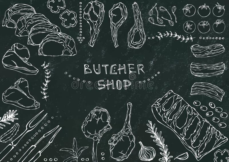 Slager Shop Vleesbesnoeiingen - Rundvlees, Varkensvlees, Lam, Lapje vlees, Achterdeel Zonder botten, Ribbenbraadstuk, Lendestuk e royalty-vrije illustratie