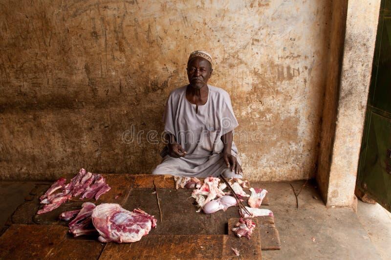 Slager in Zinder, Niger stock foto's