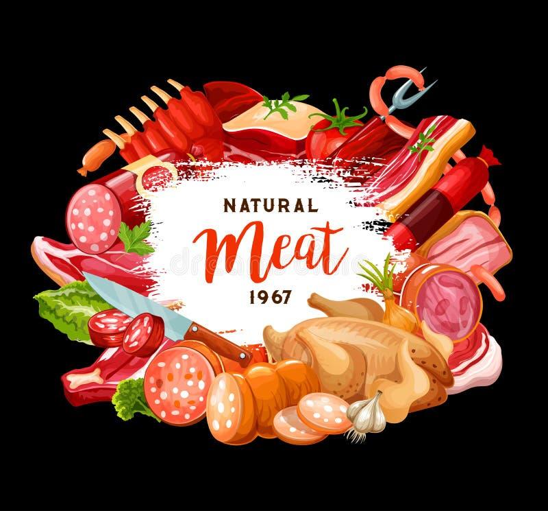Slagerij en gastronomische kokende vleesworsten stock illustratie
