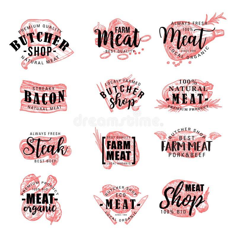 Slagerij en vleeswaren, vector vector illustratie