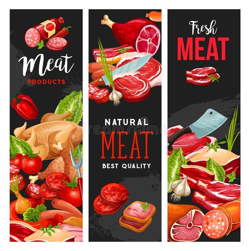 Slagerijvlees, slachterijproducten, vector vector illustratie