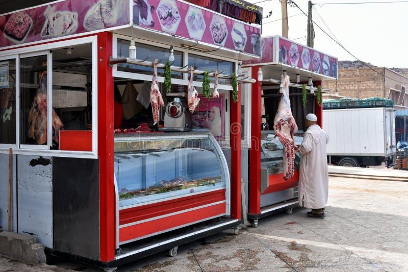 Slagers` s winkel Marokko stock afbeelding