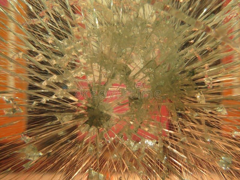 Slagit fönsterexponeringsglas arkivbilder