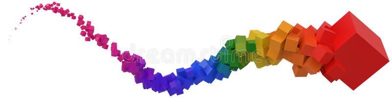 Slaglängd av färgrika kuber som är rörande på luft vektorillustration för stil 3d stock illustrationer