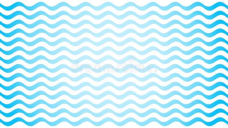Slaglängd för blålinjen för vattenvåg på vit bakgrund, blått slätt enkelt för vattenvåg, konstlinje vattenvåg för ban vektor illustrationer