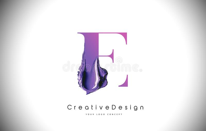 Slaglängd för målarfärg för borste för e-bokstavsdesign Purpurfärgad e-bokstav Logo Icon med Violet Paintbrush royaltyfri illustrationer