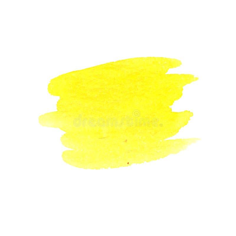 Slaglängd för utdragen vattenfärg för hand gul royaltyfri foto