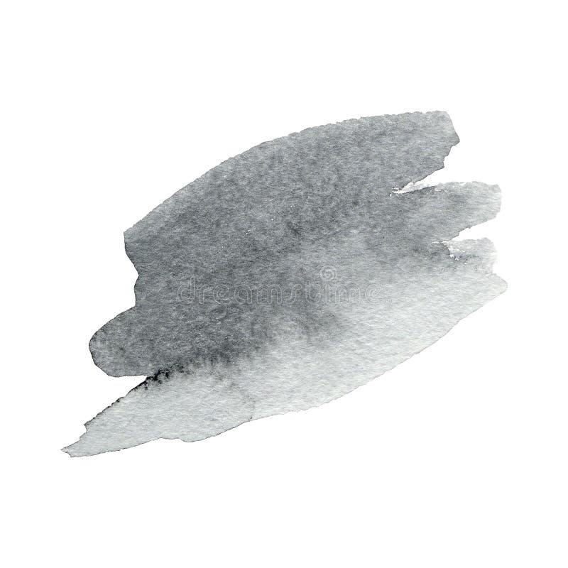 Slaglängder för borste för utdragen vattenfärg för hand gråa med den grova kanten på vit bakgrund stock illustrationer