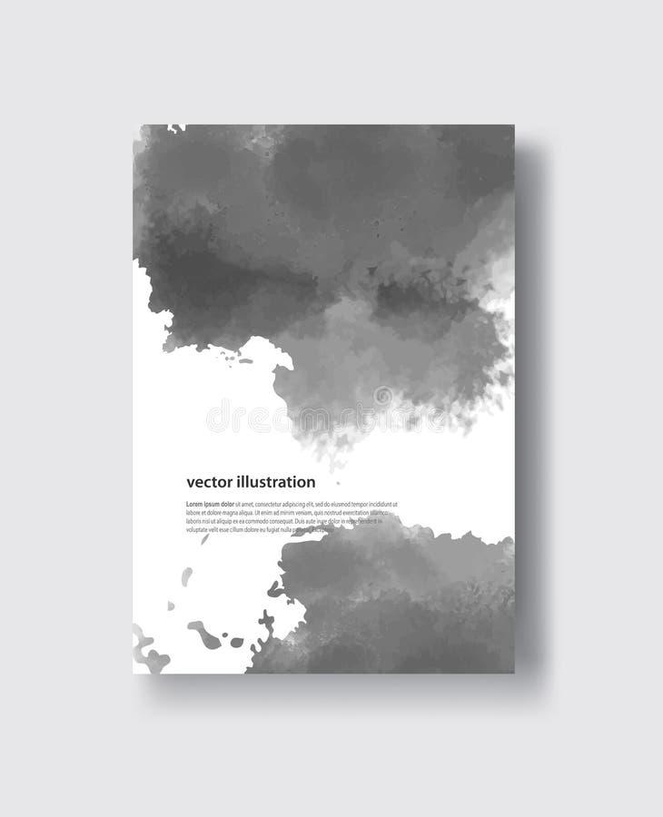 Slaglängder för borste för vektorgrå färgfärg vattenfärg royaltyfri illustrationer