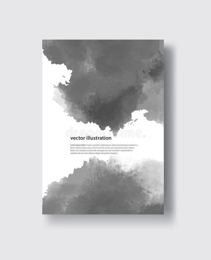 Slaglängder för borste för vektorgrå färgfärg vattenfärg vektor illustrationer