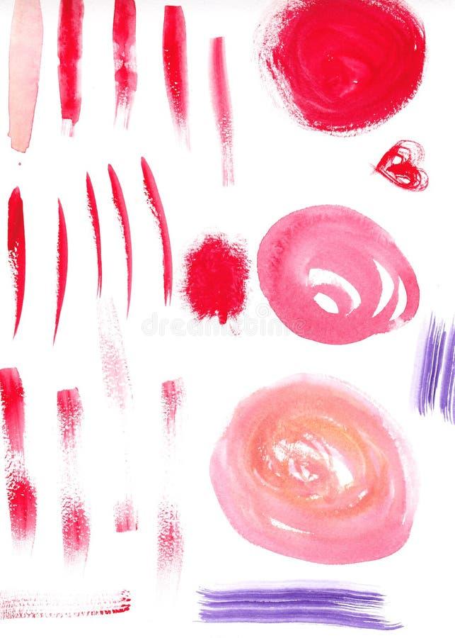 Slaglängder för vattenfärgabstrakt begreppborste på texturerat royaltyfria bilder