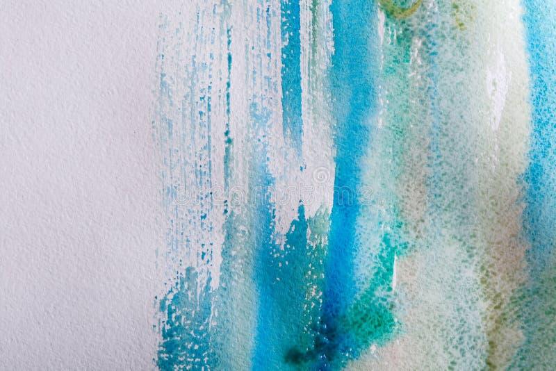 Slaglängder för vattenfärgmålarfärgborste på pappers- textur royaltyfri foto