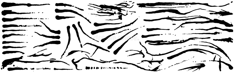 slagl?ngder f?r borstegrungef?rgpulver Svart konstn?rlig m?larf?rg, dragen hand Torr samling f?r borsteslagl?ngdbest?ndsdelar som stock illustrationer