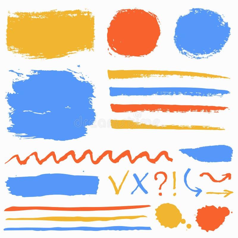 Slagl?ngder f?r m?larf?rgborste, grungefl?ckar och symboler S?ml?s blom- bakgrund vektor illustrationer