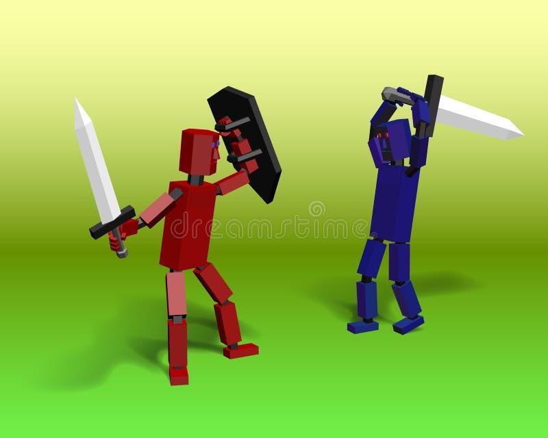 Slagrobots met zwaarden stock illustratie