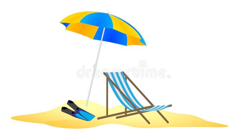 Slags solskydd, chaise och flipper i sanden vektor illustrationer