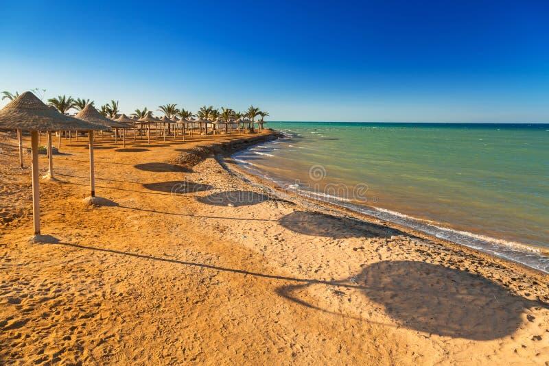 Slags solskydd på stranden av Röda havet arkivbilder