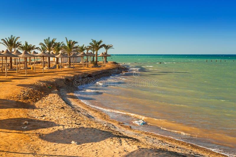 Slags solskydd på stranden av Röda havet arkivfoto
