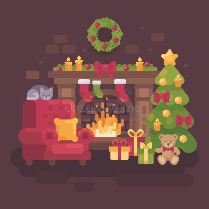 Slags tvåsittssoffa dekorerat julrum med en spis royaltyfri illustrationer
