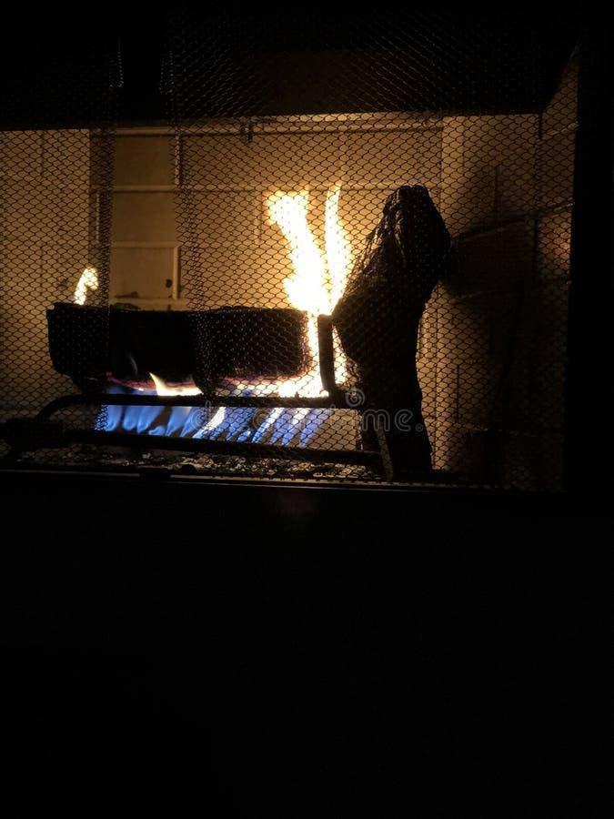Slags tvåsittssoffa vid branden royaltyfri fotografi