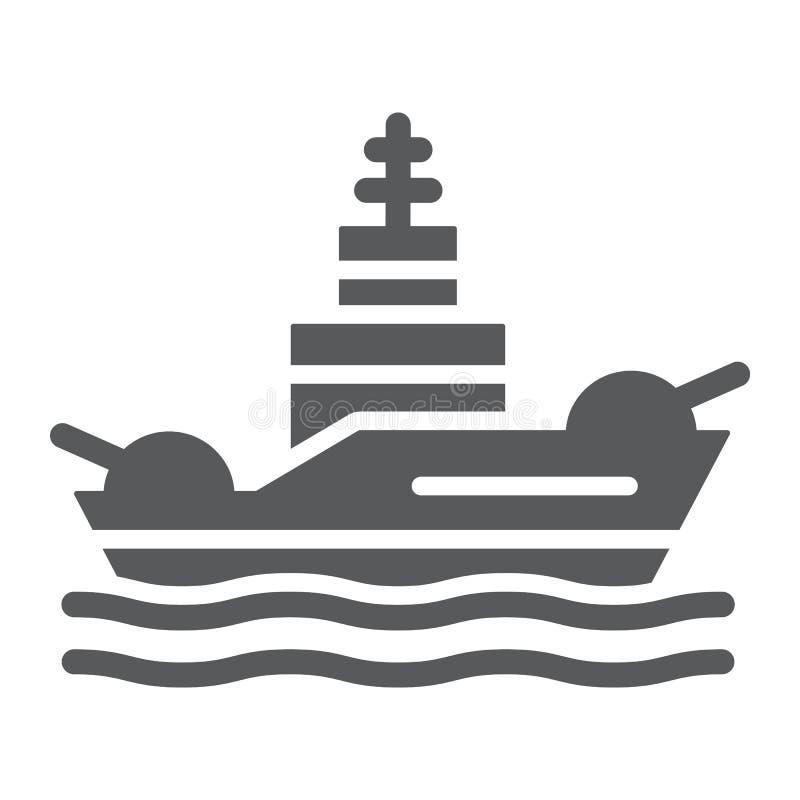 Slagschip glyph pictogram, marine en leger, oorlogsschipteken, vectorafbeeldingen, een stevig patroon op een witte achtergrond stock illustratie