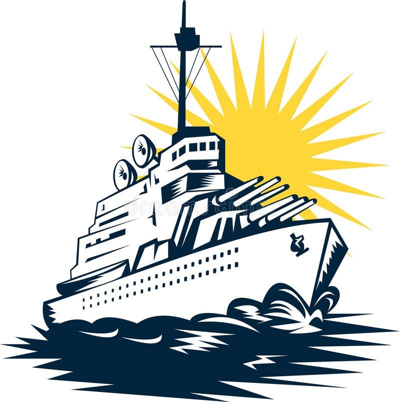 Slagschip met grote kanonnen royalty-vrije illustratie