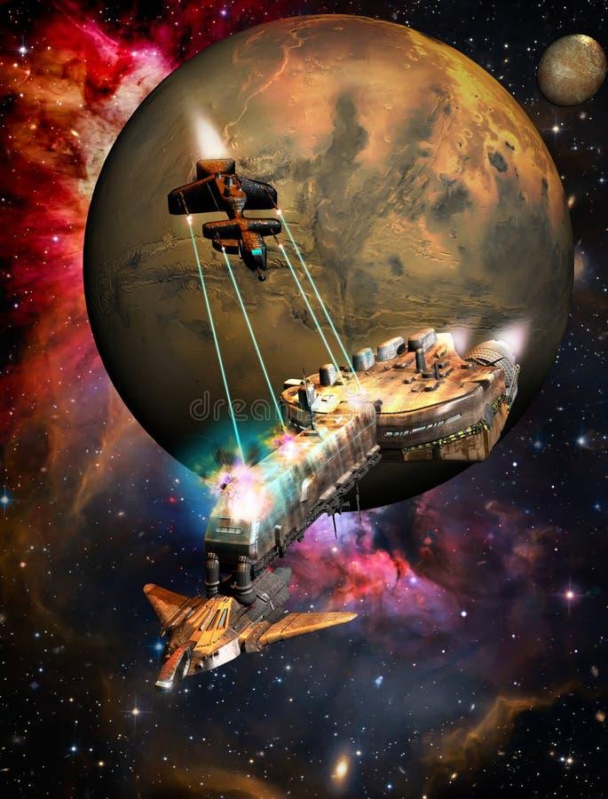 Slagschip in ruimte stock illustratie