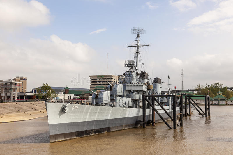 Slagschip USS Kidd in Baton Rouge, Louisiane royalty-vrije stock foto's