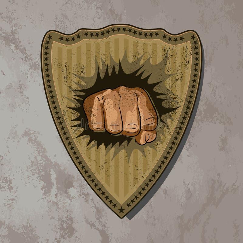 slagsmål Klistermärken för symbol för stämpel för näve för skydd för vektortappningsköld vektor illustrationer