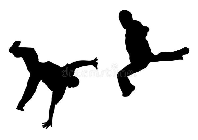 slagsmålgata för 4 dansare royaltyfri illustrationer