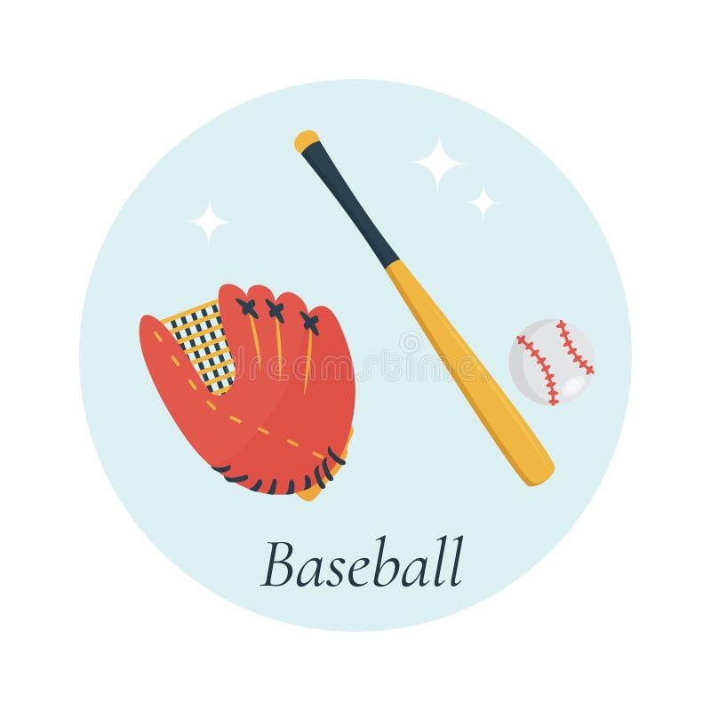 Slagträ, handske och boll, baseballutrustning stock illustrationer