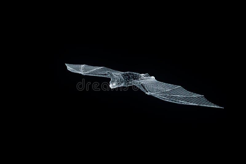 Slagträ i hologramWireframe stil Trevlig tolkning 3D vektor illustrationer
