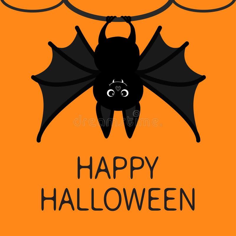Slagträ som hänger på trädcirkeln kort lyckliga halloween Det gulliga tecknad filmteckenet med den stora vingen, gå i ax och lägg stock illustrationer