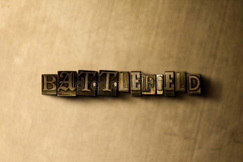 SLAGVELD - close-up van grungy wijnoogst gezet woord op metaalachtergrond vector illustratie