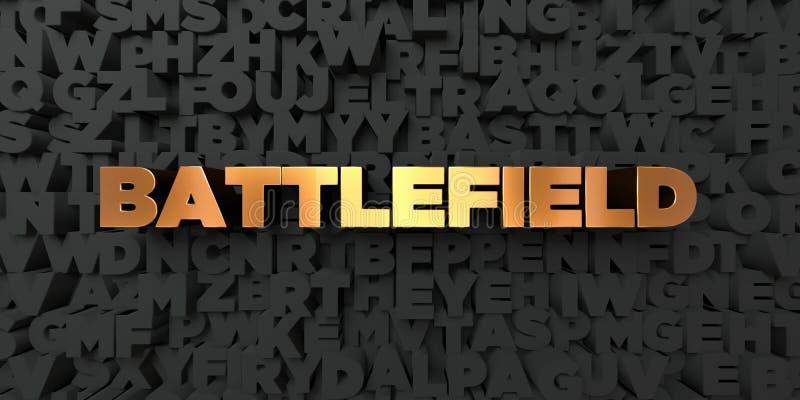 Slagveld - Gouden tekst op zwarte achtergrond - 3D teruggegeven royalty vrij voorraadbeeld vector illustratie