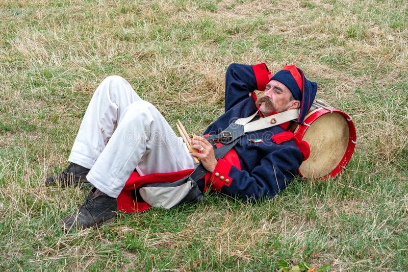 Slagwerker, Mexicaans Leger c1835, Spetchley-Park, Worcestershire, Engeland royalty-vrije stock fotografie