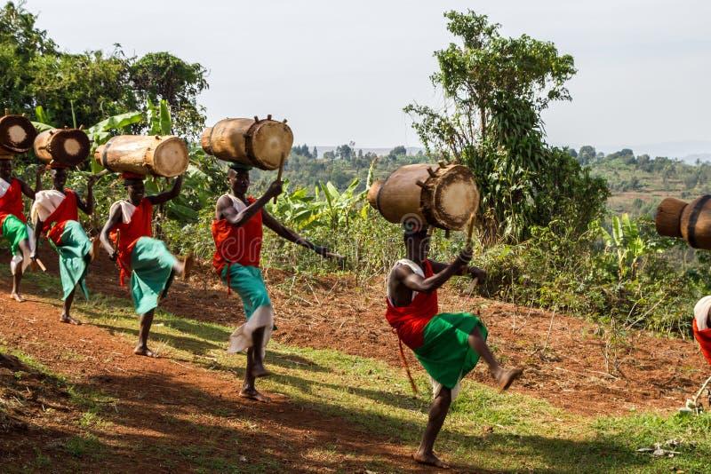 Slagwerkers van Burundi stock foto