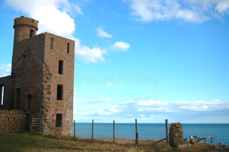 Slains城堡塔,阿伯丁郡 免版税图库摄影