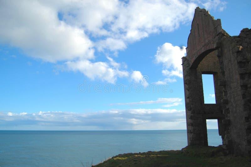 Slains kasztelu ruina na faleza wierzchołku, Aberdeenshire zdjęcia royalty free