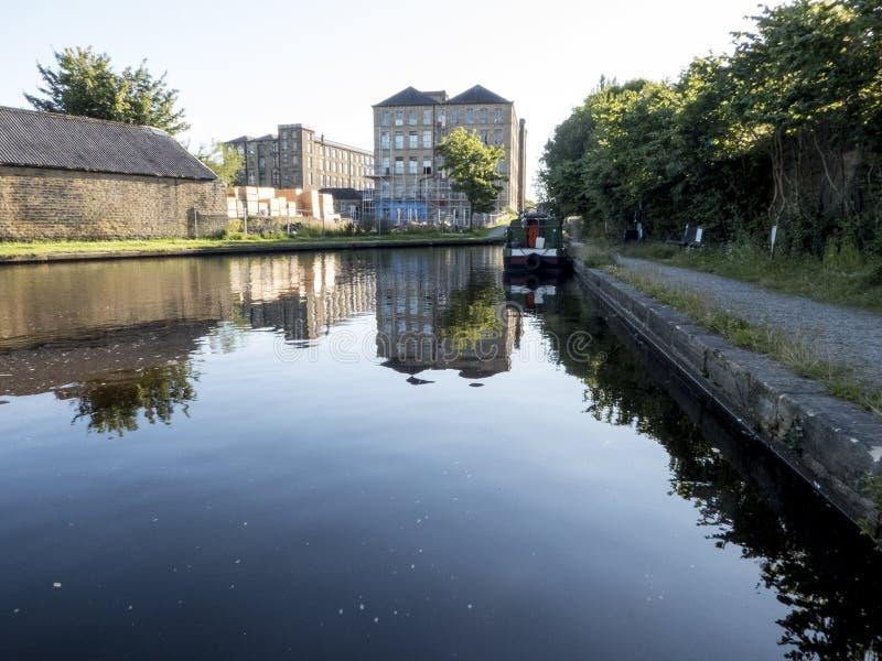 Slaithwaite运河停泊 免版税图库摄影
