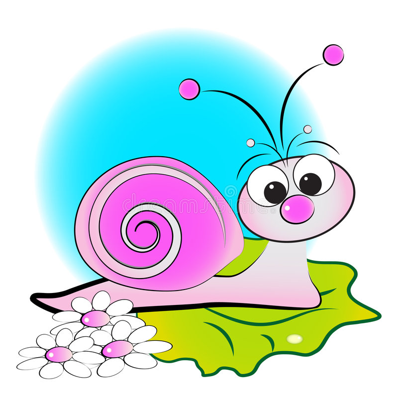 Slak, bloemen en groen blad - de Illustratie van het Jonge geitje vector illustratie
