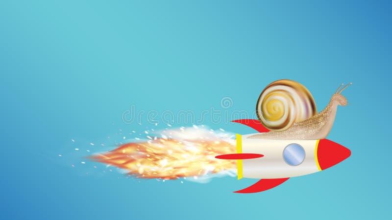 Slak op een stuk speelgoed raket stock illustratie