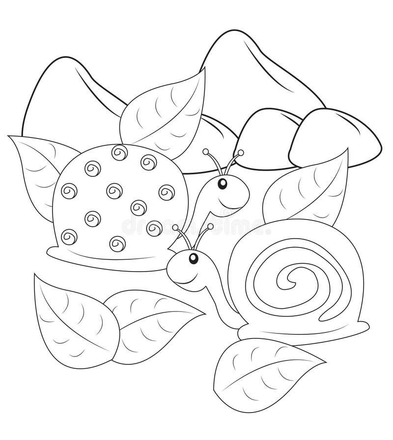 Slakken die pagina kleuren vector illustratie