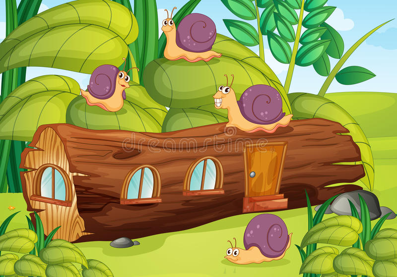 Slakken en huis royalty-vrije illustratie