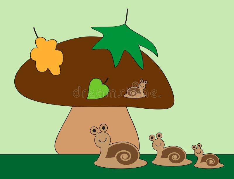 Slakken en paddestoel vector illustratie
