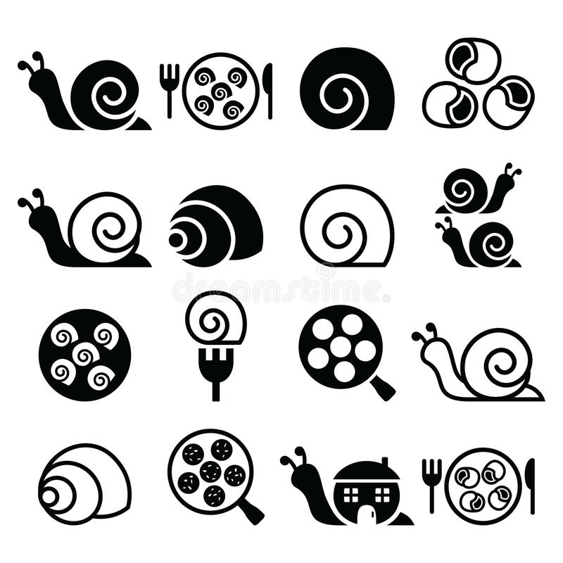 Slakken, Franse slakmaaltijd - geplaatste escargotpictogrammen royalty-vrije illustratie