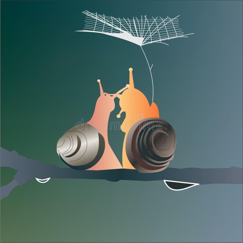 Slakken in Liefde vector illustratie